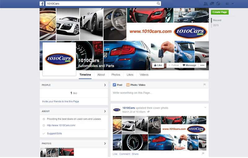 1010cars Facebook Page